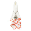 White linen napkin with hem in orange color