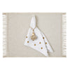 Mode Living polka dot napkins- Belle Gold with Venice Gold Placemat