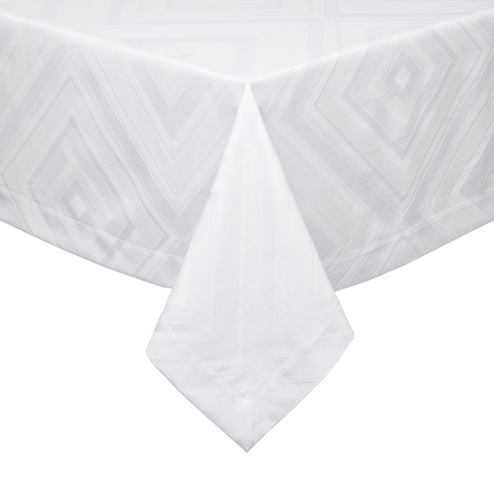 White Rectangular Pattern Tablecloth Brussels