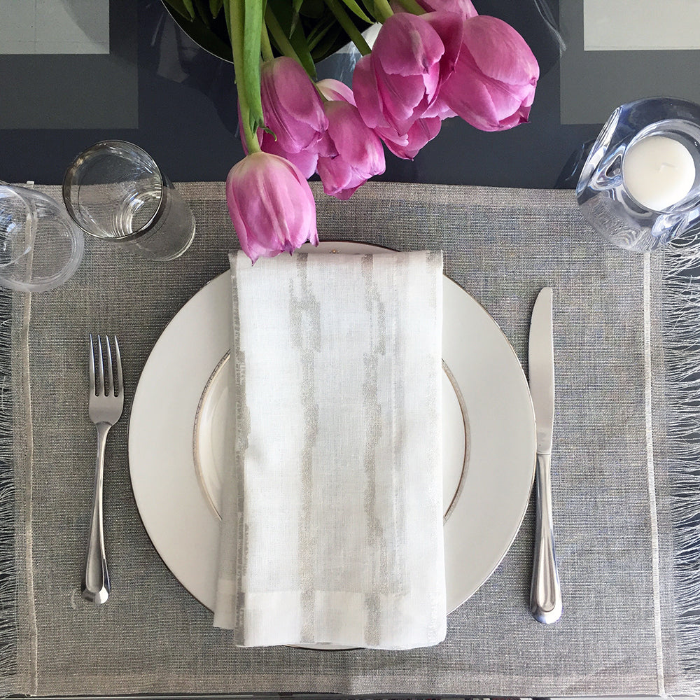 mode living cannes silver placemats and napkin set