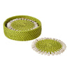 Bamboo and Shell Coaster - Great gift item - capiz coasters Green