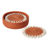 Bamboo and Shell Coaster - Great gift item - capiz coasters orange