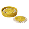 Bamboo and Shell Coaster - Great gift item - capiz coasters yellow