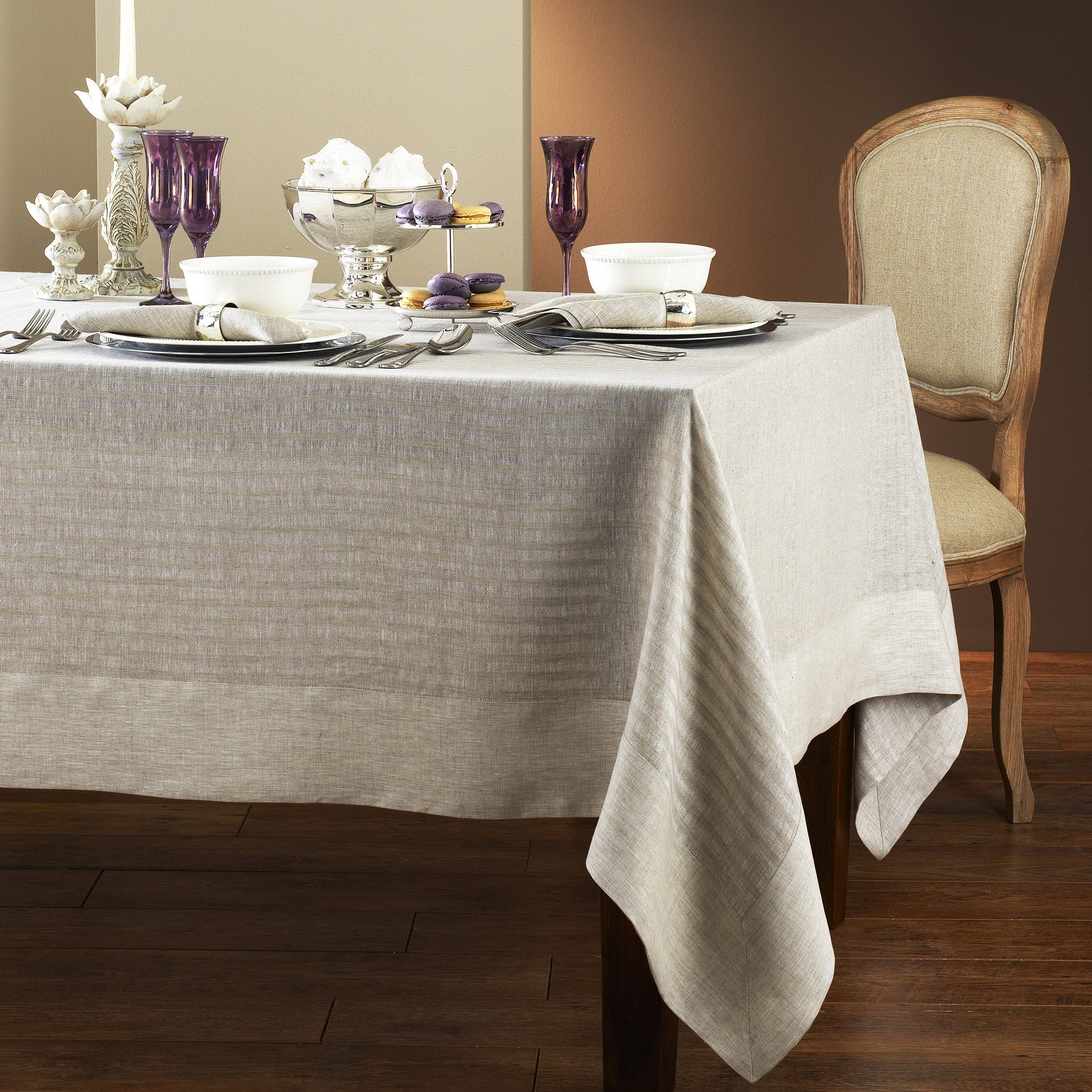 ... Greenwich Easycare Beige Linen Tablecloth   Mode Living Tablecloths