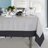 Mode Living easycare Hamptons tablecloth white linen with gray border