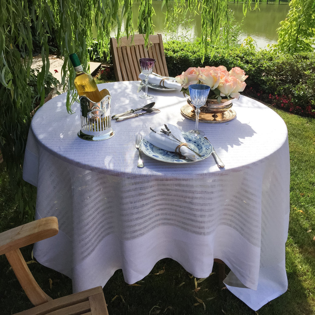 Greenwich Easycare White Linen Tablecloth - Mode Living Tablecloths