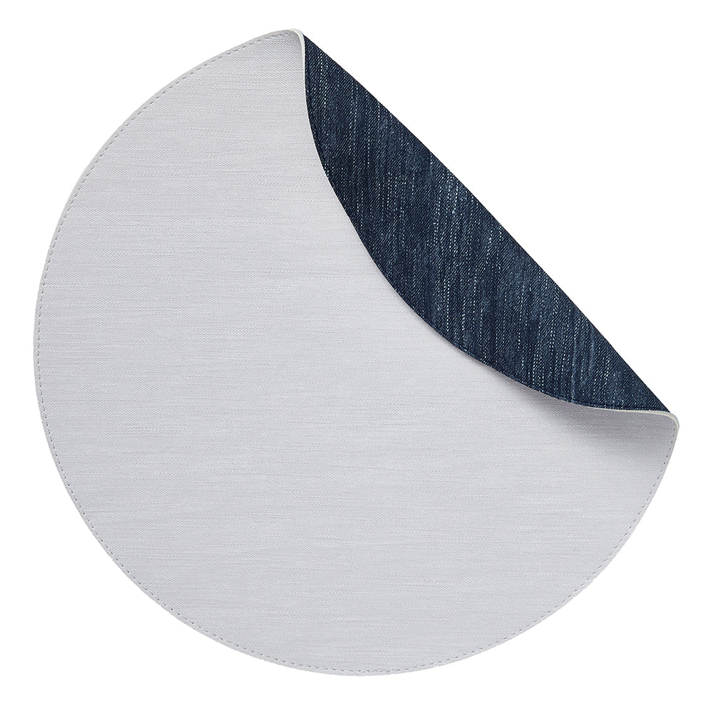 Jeanne Placemats, S/4 Round White-Navy