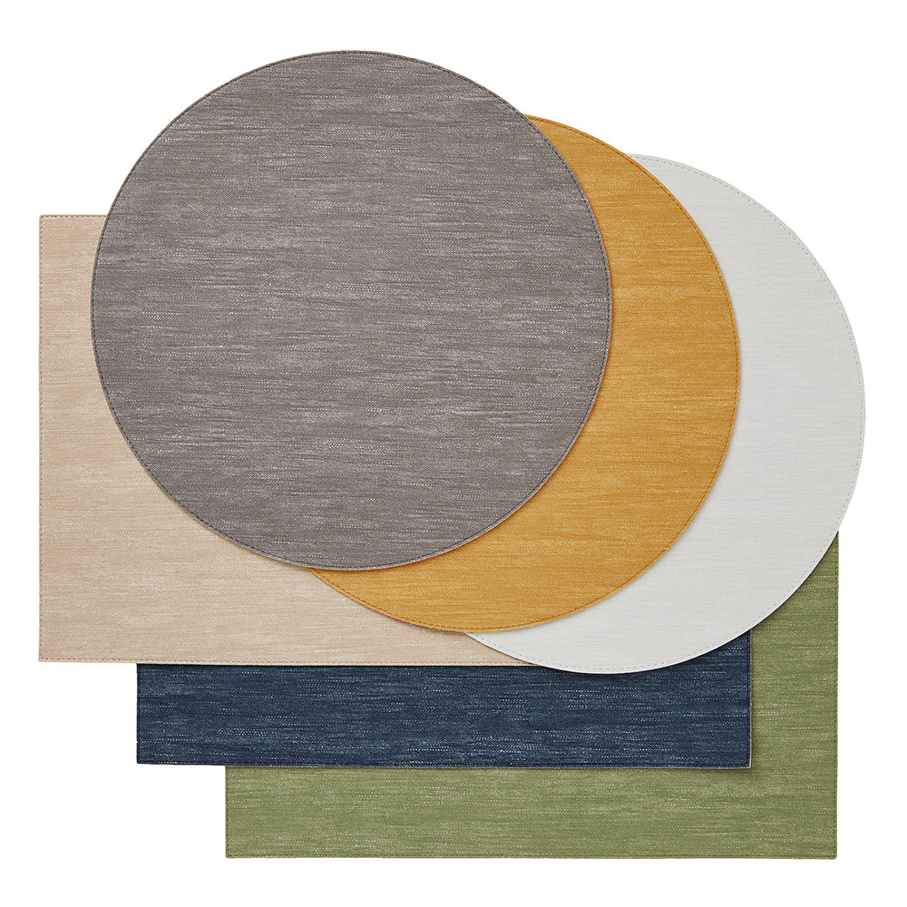 Jeanne Placemats, S/4 Round Yellow-Green