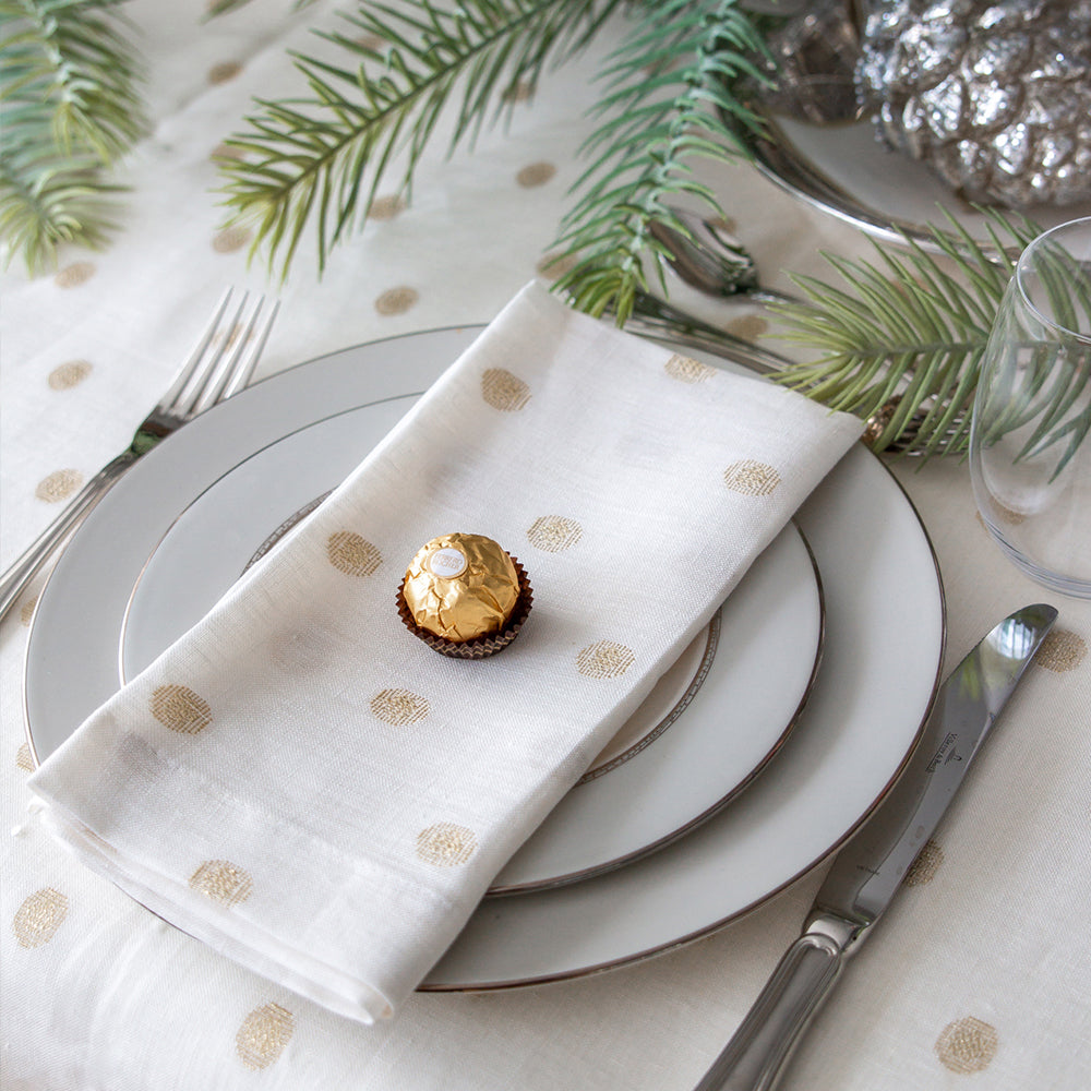 Mode Living Vogue napkins with gold polka dots