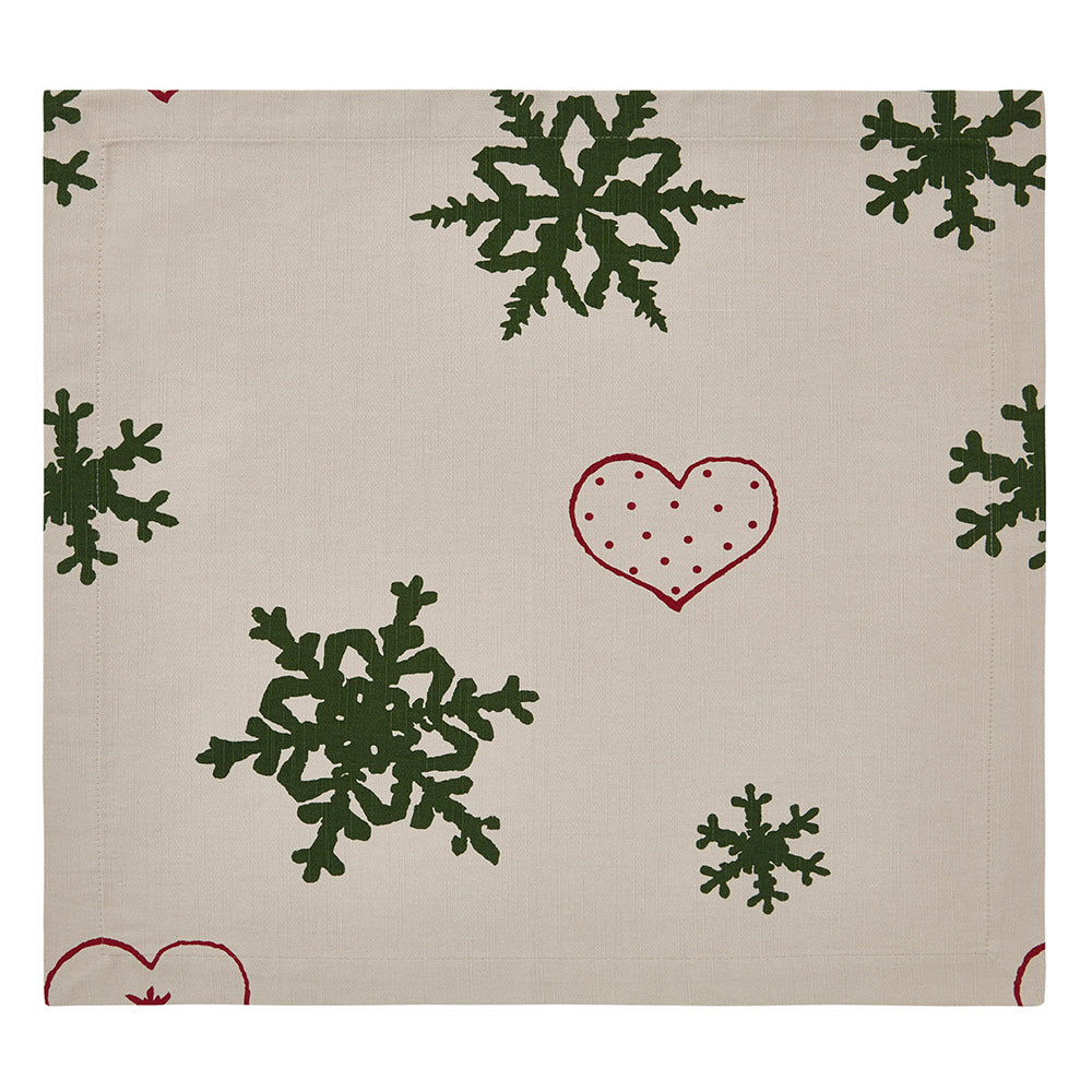 beige holiday napkin with hearts