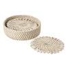Bamboo and Shell Coaster - Great gift item - capiz coasters bone offwhite