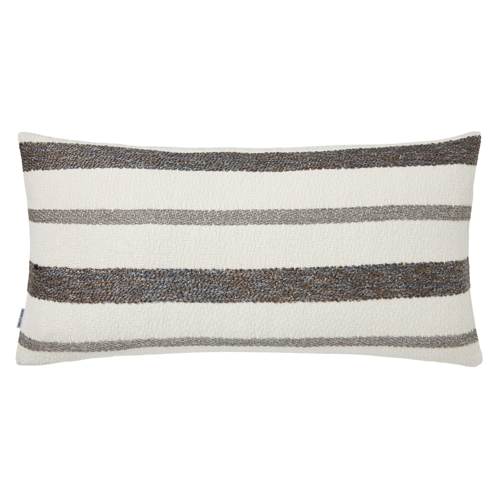 Striped Gray and Ivory Decorative Pillow