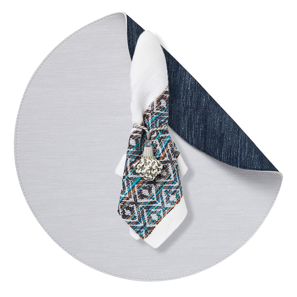 Jeanne Placemat Set White-Navy with Napkins