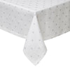 Silver Polka Dot Tablecloth- Mode Living Vogue Metallic Designer Table Linen