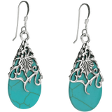 Floral Vine Ornate Teardrop Natural Shell .925 Silver Earrings