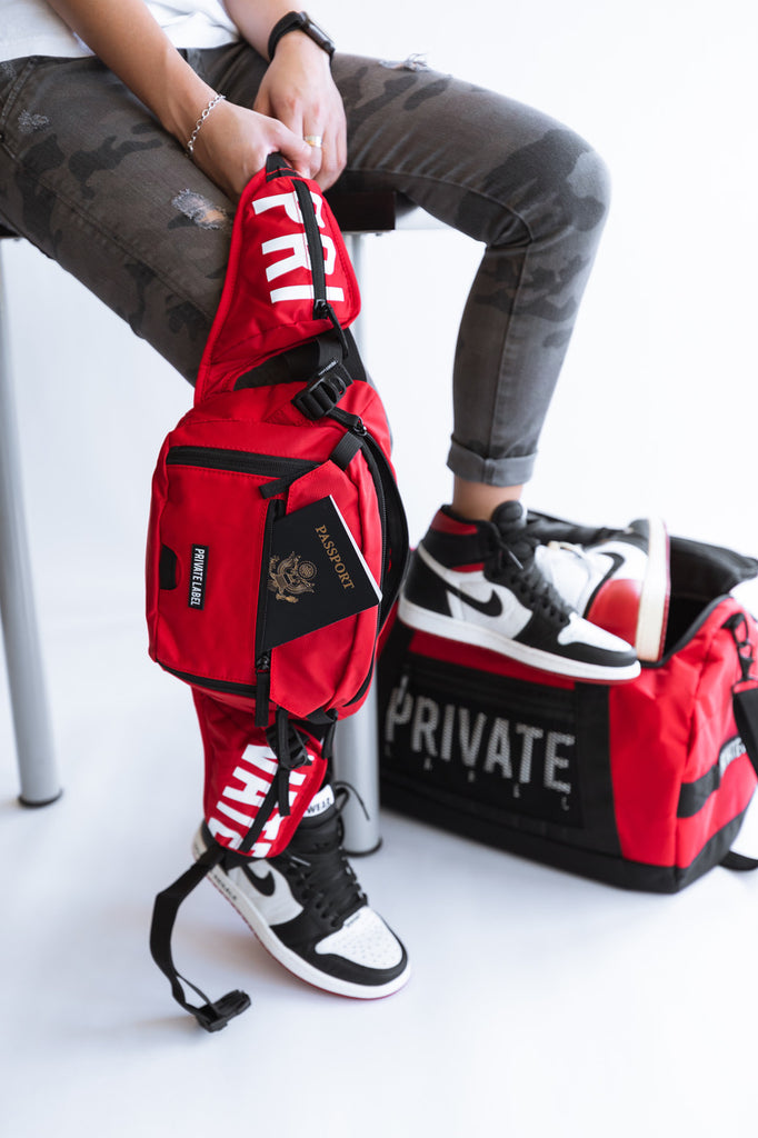*RED / BLACK - WAIST/SLING BAG