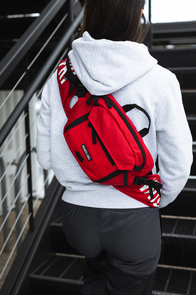*RED / BLACK - WAIST/SLING BAG (SHIPS OUT MID JULY)
