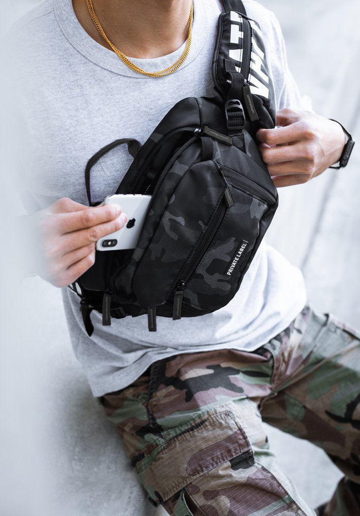 *BLACK / GREY CAMO - WAIST/SLING BAG (SHIPS OUT END OF AUGUST)
