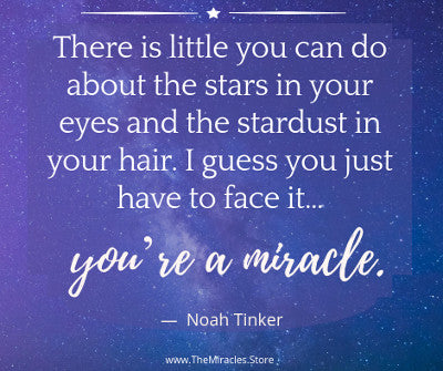 There is little you can do about the stars in your eyes and the stardust in your hair. I guess you just have to face it: You're a miracle. ~ Noah Tinker