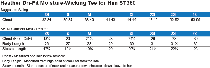 Men's Dri-Fit Moisture Wicking Tee: Size Chart & Product Details