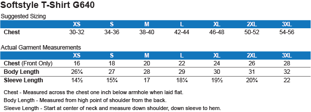 Product Details & Size Chart: Men's Softstyle T-Shirt