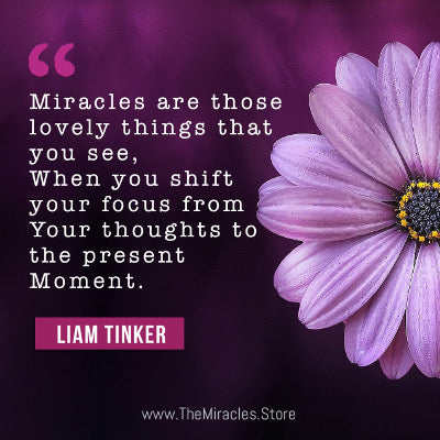 Miracles are those lovely things that you see when you shift your focus from your thoughts to the present moment. ~ Liam Tinker