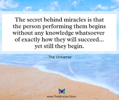The secret behind miracles is that the person performing them begins without any knowledge whatsoever of exactly how they will succeed... yet they still begin. ~ Notes from the Universe by Mike Dooley