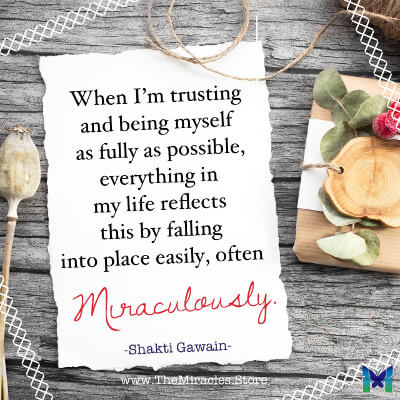When I'm trusting and being myself as fully as possible, everything in my life reflects this by falling into place easily. ~ Shakti Gawain