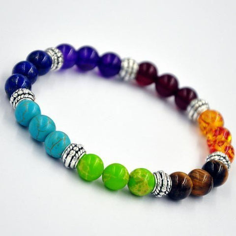 8mm Chakra Bracelets with Semi-Precious Healing Energy Gemstones - Jewelry - Rainbow - -