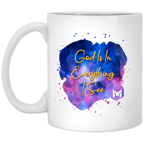 God Is In Everything I See - ACIM Coffee Cup, Black - Woman In Nature