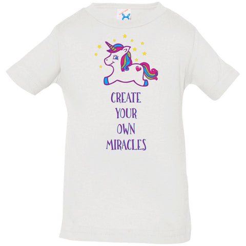 Create Your Own Miracles - Inspirational Kids Shirts with Pink Unicorn