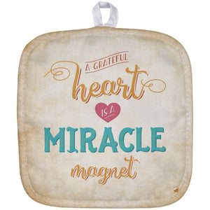 A Grateful Heart is a Miracle Magnet Pot Holder - Accessories - White - One Size -