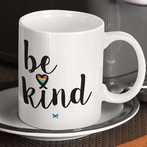 """Be Kind"" Mug With Heart - On White-Apparel-The Miracles Store"