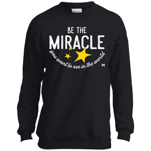 """Be The Miracle"" Kids Crewneck Sweatshirts-Apparel-Crewneck Sweatshirt-Black-YXS-The Miracles Store"
