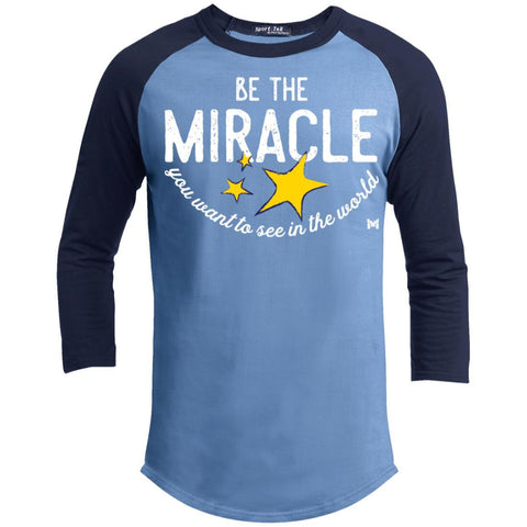 Be The Miracle - Men's Shirts-Apparel-Baseball Tee-Carolina Blue/Navy-S-The Miracles Store