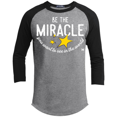 Be The Miracle - Men's Shirts-Apparel-Baseball Tee-Heather Grey/Black-S-The Miracles Store