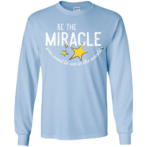 """Be the Miracle"" - Shirts for Kids (Boys and Girls) - Apparel - Long Sleeve Shirt - Light Blue - YS"