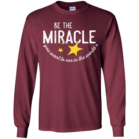 """Be the Miracle"" - Shirts for Kids (Boys and Girls) - Apparel - Long Sleeve Shirt - Maroon - YS"