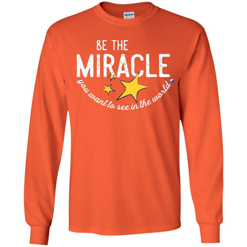 """Be the Miracle"" - Shirts for Kids (Boys and Girls) - Apparel - Long Sleeve Shirt - Orange - YS"