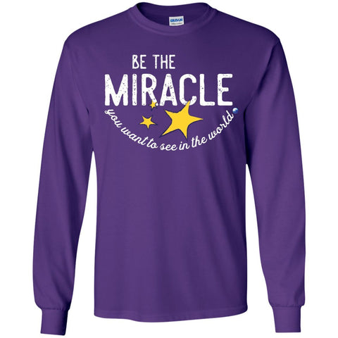 """Be the Miracle"" - Shirts for Kids (Boys and Girls) - Apparel - Long Sleeve Shirt - Purple - YS"