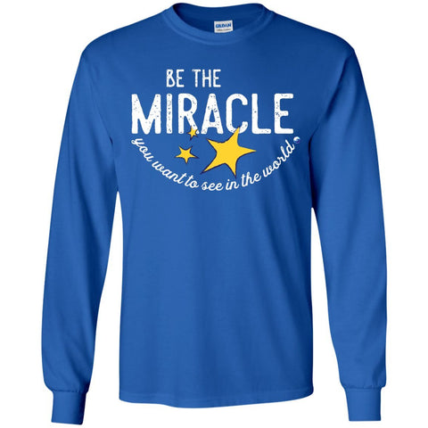 """Be the Miracle"" - Shirts for Kids (Boys and Girls) - Apparel - Long Sleeve Shirt - Royal - YS"