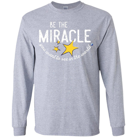 """Be the Miracle"" - Shirts for Kids (Boys and Girls) - Apparel - Long Sleeve Shirt - Sport Grey - YS"