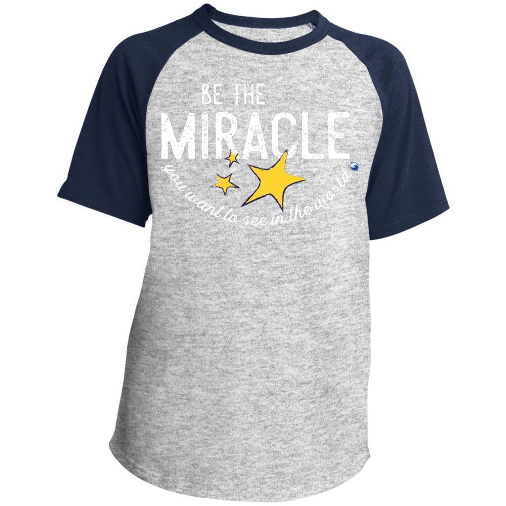 """Be the Miracle"" - Shirts for Kids (Boys and Girls) - Apparel - Raglan Jersey - Heather Grey/Navy - YXS"