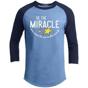 """Be the Miracle"" - Shirts For Men - Apparel - Baseball Tee - Carolina Blue/Navy - X-Small"