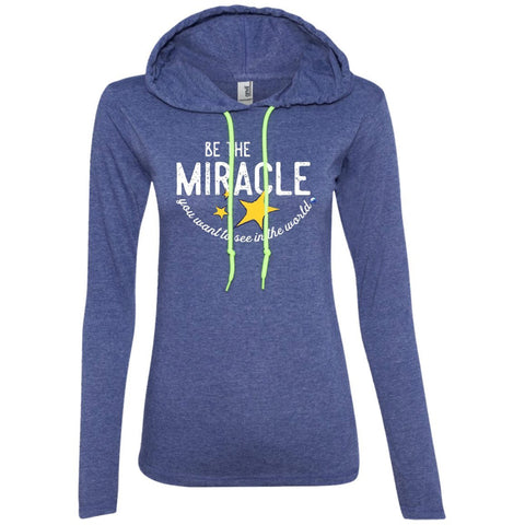 """Be The Miracle"" - Women's Long-Sleeve Lightweight T-Shirt Hoodie - Apparel - Heather Blue/Neon Yellow - Small -"