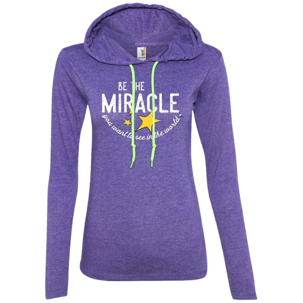 """Be The Miracle"" - Women's Long-Sleeve Lightweight T-Shirt Hoodie - Apparel - Heather Purple/Neon Yellow - Small -"