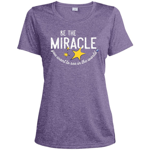 """Be The Miracle"" - Women's Short-Sleeve Shirts - Apparel - Dri-Fit Tee - Purple Heather - Small"