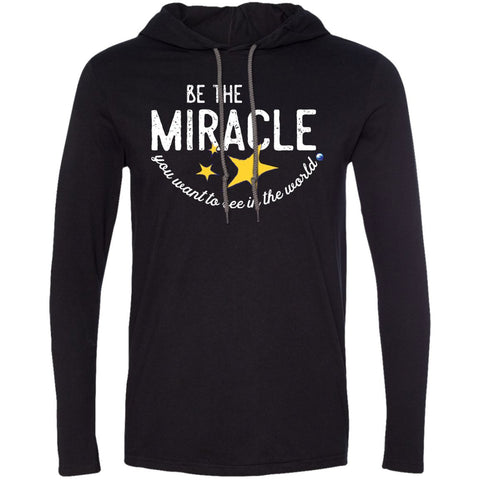 """Be The Miracle You Want to See in the World"" - XXLove Size Shirts - Apparel - Long-Sleeve Tee - Black/Dark Grey - XX-Large"