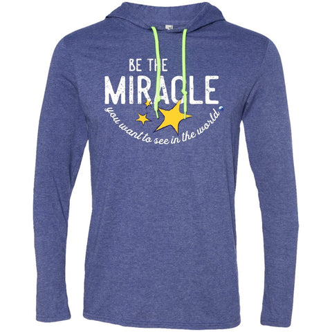 """Be The Miracle You Want to See in the World"" - XXLove Size Shirts - Apparel - Long-Sleeve Tee - Heather Blue/Neon Yellow - X-Large"
