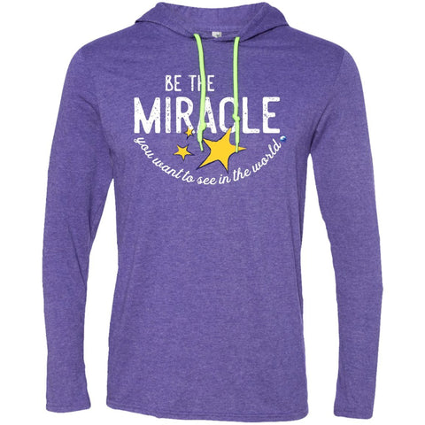 """Be The Miracle You Want to See in the World"" - XXLove Size Shirts - Apparel - Long-Sleeve Tee - Heather Purple/Neon Yellow - X-Large"